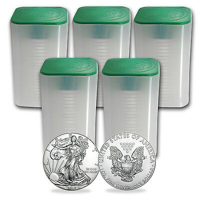 SPECIAL PRICE! 2017 1oz Silver American Eagle BU (Lot, Roll of 100, Five Tubes)