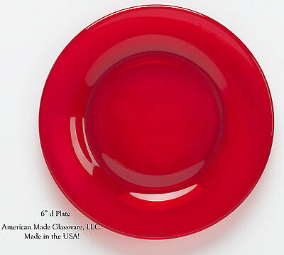 Red Glass Plain & Simple Bread Plate - Mosser USA