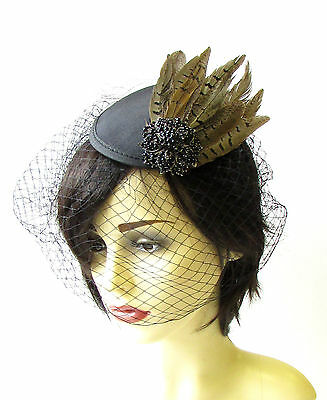 feathered hair styles black birdcage veil hair clip fascinator net hair vintage 3003
