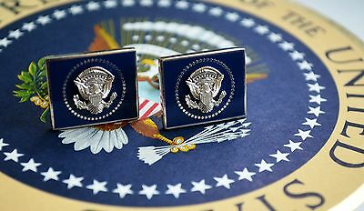 Authentic Obama Vip Square Silver White House Presidential Seal Cufflinks~Mib
