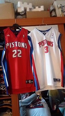 2 maillots jersey NBA Detroit Pistons, Prince, Ben Wallace