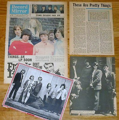 THE PRETTY THINGS clippings 1960s magazine articles Record Mirror 1964 cover