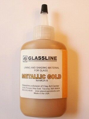 Glassline Fusing Paints * METALLIC GOLD * for fusible glass projects