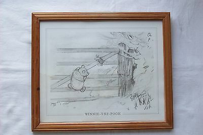 Winnie The Pooh And Piglet Framed Print Of Pencil Drawing By E H Shepard