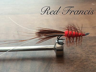 3 Black or Red Francis Double Hook Salmon/Sea Trout Flies Sizes 8, 10,12