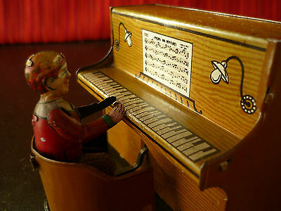 Extr. Rare 1920's GELY George Levy Tin Crank Wind-up Student Pianist Music Box