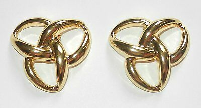 Pair of Vintage Shoe Clips Knot Design Gold Metal/ Brass