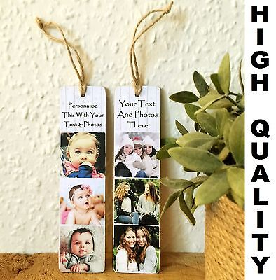 """Personalised 8x2"""" plaque with photos & text Bookmark Mother Gift"""