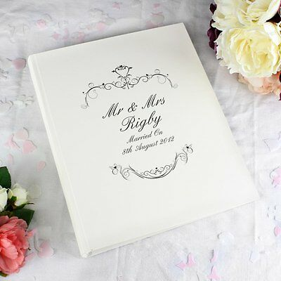 Personalised Gold/Black Ornate Swirl Wedding Photo Album - 30 Pages
