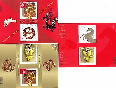 "Canada, 2012-14, ""year Of Rabbit/dragon/snake/horse"" 3 S/s, Mint Nh Fresh"