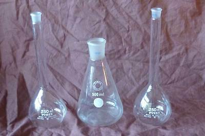1 x Pyrex 500ml Conical Flask + 2 x 250ml Long Necked Volumetric Lab Glassware