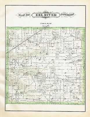 1880 Map EEl River Township Allen County Indiana + Engravings Valentine Farm