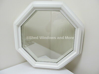 "Octagon Window PVC Double Pane Insulated 18"" White"
