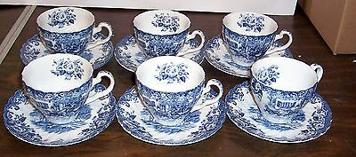 Lot Of 6 Johnson Bros Coaching Scenes Cups And Saucers Hunting Country