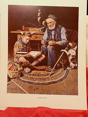 """SCOUTING THROUGH THE EYES OF NORMAN ROCKWELL """"A GOOD TURN"""" PRINT 11""""x14"""""""