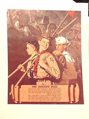 """SCOUTING THROUGH THE EYES OF NORMAN ROCKWELL """"THE SCOUTING TRAIL"""" PRINT 11""""x14"""""""