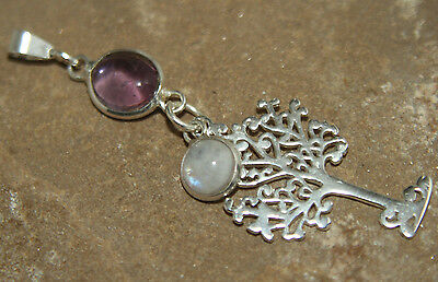 Tree of Life Pendant Sterling 925 Silver Amethyst & Moonstone Pagan Wicca