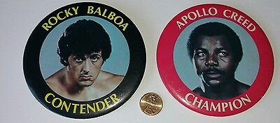 "1979 Rocky II Rocky Balboa Apollo Creed Champion""/""Contender movie prop buttons"