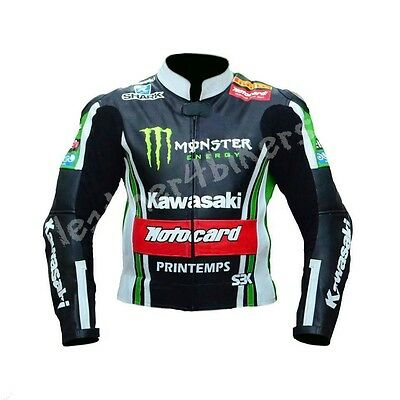 KAWASAKI Motorcycle Leather Jacket MOTOGP Mens Racing Motorbike Leather Jackets