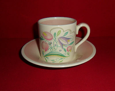 Vintage Susie Cooper Coffee Can & Saucer Pink Dresden Spray