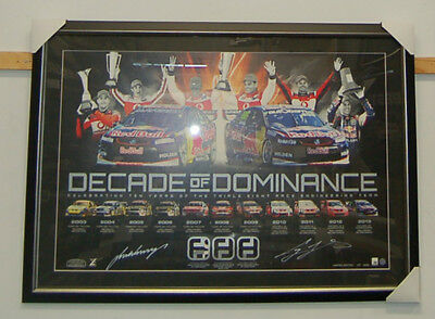 V8 Supercars Decade Of Dominance Signed And Framed Limited Print Whincup Lowndes