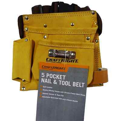 Quality 5 Pocket Genuine Leather Tool and Nail Belt Pouch Double Stitch BRANDNEW