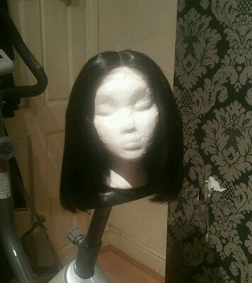 8A grade short Brazilian straight human hair wig with Lace Closure