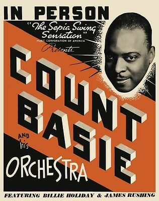 Count Basie POSTER Billie Holiday Jazz Piano LARGE Swing Big Band Jimmy Rushing