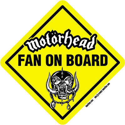 Motorhead Fan on Board vinyl window sticker 14cm Lemmy rock metal ace of spades