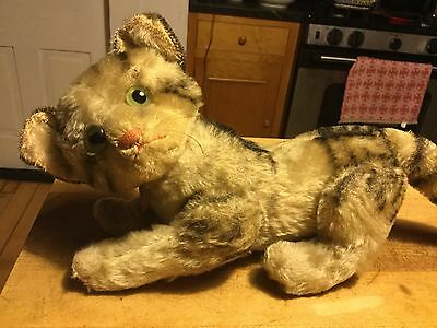 """Large Vintage Antique Steiff Mohair 5-way Jointed Cat Susi Button Sweet! 8"""" Tall"""