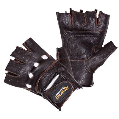Mens Leather Fingerless Driving Motorcycle Biker Brown Gloves S-3Xl