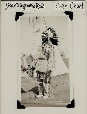 Vintage Cree Indian Original Photograph Chief Standing in Road Native American