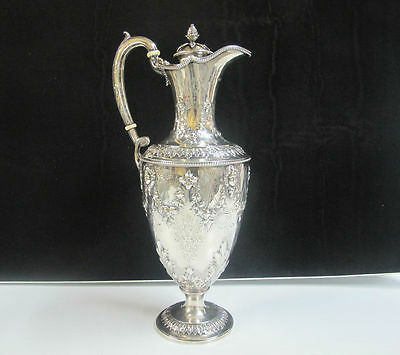 VICTORIAN Sterling Silver Martin Hall & Co. c1867 Ornate Claret Pitcher Ewer Jug