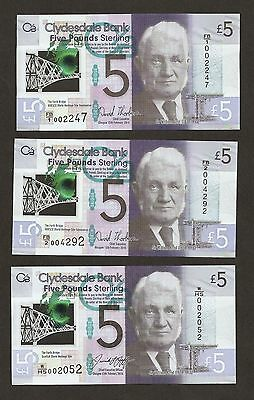 2015 -16 Scotland £5 Pounds FB/1 + FB/2 And W/HS First Prefix With Low Serial