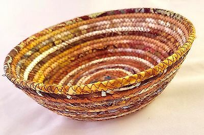 Coiled Fabric Basket Small Catchall Fabric Wrapped Clothesline Bowl Brown Fabric