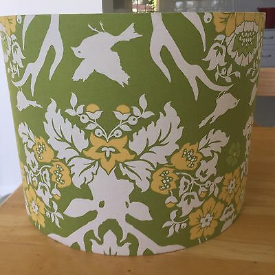 """Large Drum Lamp Shade 13"""" Seven Dandelions Green White Yellow Table Desk Round"""
