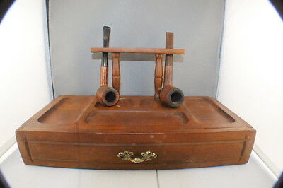 Vintage Kaywoodie Pipe Stand with Draw + 2 Pipes, 3 Bowls and Accessories