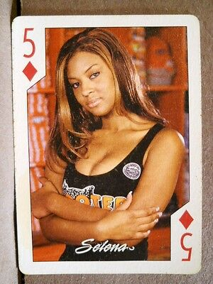 2004 Hooters Ebony Calendar Girl Selena 5 Diamonds Playing Card Sexy Black Top