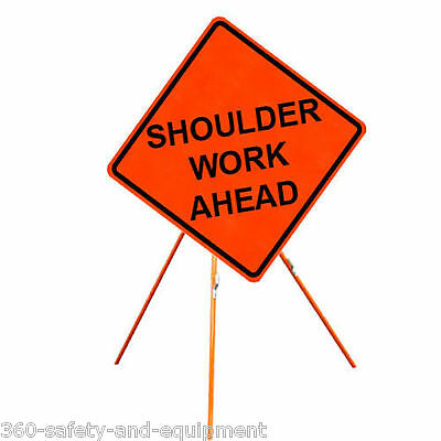 """Shoulder Work Ahead 48"""" X 48"""" Vinyl Fluorescent Roll Up Sign And Tripod Stand"""