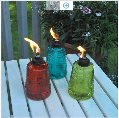 New TIKI Glass Lamp Tabletop Fireplace Garden Lamplight Decor Outdoor Torch Trio