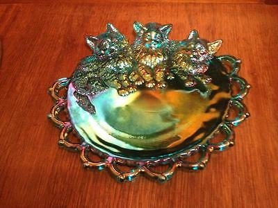Summit Art Glass, Iridescent finished blue laced edge cat dresser tray