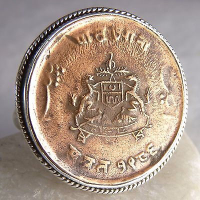 US 9 1/4 ~ 925 Stg Silver Antique Indian Coin Vintage Pinkie Thumb Finger Ring