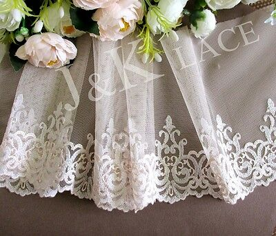 16.5 cm width Pretty Light Apricot / White Embroidery Mesh Lace Trim