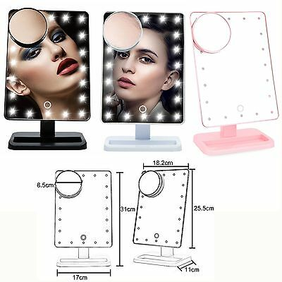 10X Magnifie Lighted Makeup Mirror 20 LED Touch Screen Cosmetic Vanity Mirror#AL