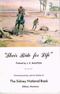 1969 Sidney National Bank Montana Their Ride for Life J.K. Ralston Art Booklet
