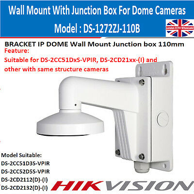 Hikvision DS-1272ZJ-110B Dome Camera Wall Mount Bracket with Junction Box - UK