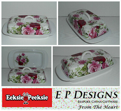 BN Porcelain Retro Floral Rose Butter Dish with handle, Gift For Her,