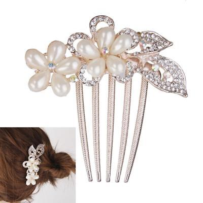 Wedding Bridal Women Crystal Leaves Pearl 5-pin Hair Comb Clip Slid Jewelry