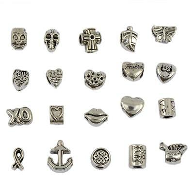 20 Tibet Silver Heart Anchor Skull Mix Charms Beads Pendant Jewelry Findings