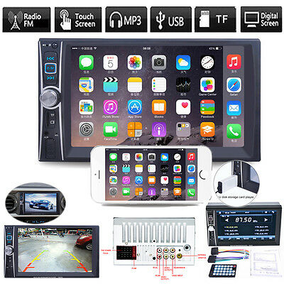 "7"" Double 2 DIN Car Stereo MP5 MP3 Player In Dash Bluetooth USB FM AUX TV Radio"